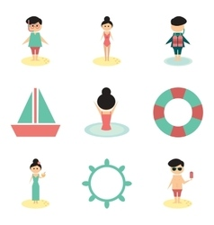 Concept of flat icons on white background people vector