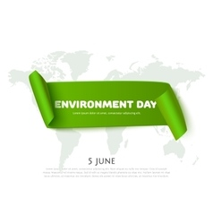 Environment day paper ribbon banner with world map vector