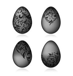 Easter eggs black with floral ornament vector