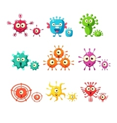 Bacteria and virus fun collection vector