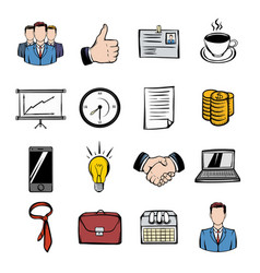 Business icons set cartoon vector