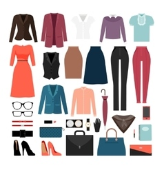 Businesswoman clothes and accessories vector