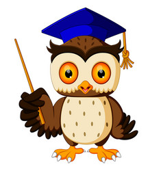 cartoon of pointing wise owl vector image