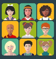 children avatars set of different vector image vector image