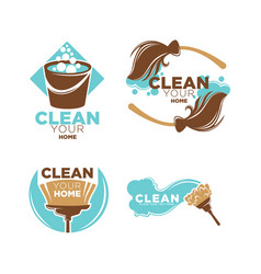 clean your home service promo logotypes vector image vector image