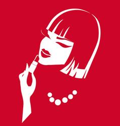 creative of a young girl yoke girl with lipstick vector image vector image