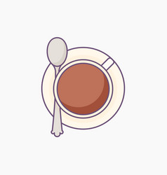 Cup of coffee or tea on saucer with spoon - top vector