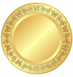 Decorative gold plate vector