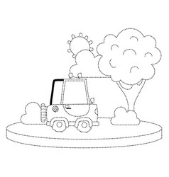 Dotted shape agrimotor car in the city with tree vector