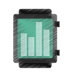 Drawing black smart watch music frecuency vector