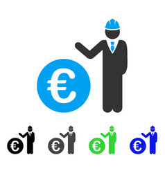 Euro developer flat icon vector