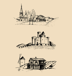 Farm landscapes set sketches vector