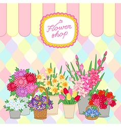 Flower shop color vector
