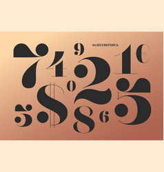 Font of numbers in classical french didot style vector