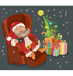 Funny color christmas background with santa claus vector