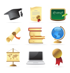 Icons for education vector image
