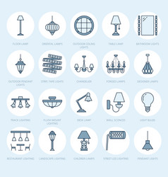 light fixture lamps flat line icons home and vector image