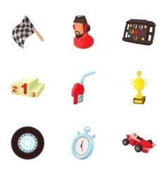Machine race icons set cartoon style vector