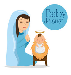Merry christmas baby jesus lying in a manger with vector