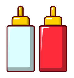 Mustard ketchup bottle icon cartoon style vector