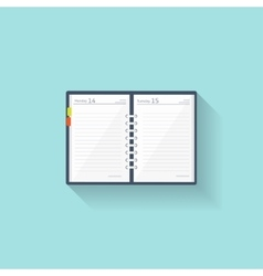 Notebook in a flat style Reminder diary vector image