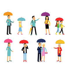 people under umbrella of various colors set men vector image vector image
