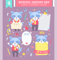 School design set with cartoon character vector