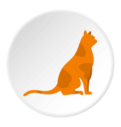Sitting cat icon circle vector