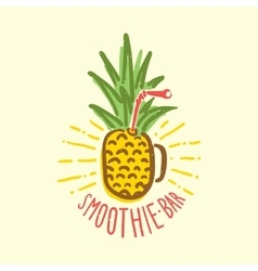 Smoothie bar pineapple cup vector image