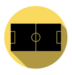 Soccer field flat black icon with flat vector