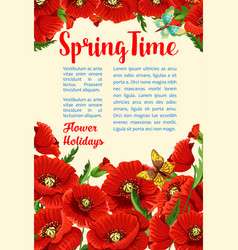 Springtime poster of poppy flowers bunch vector