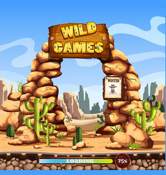 start or loading screen for web wild west game vector image vector image