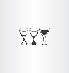 stylized wine glass set design vector image vector image