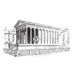 temple roman architecture vintage engraving vector image vector image