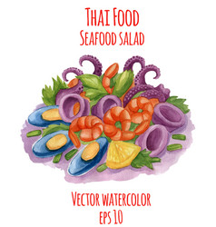 Watercolor-style of thai-food vector
