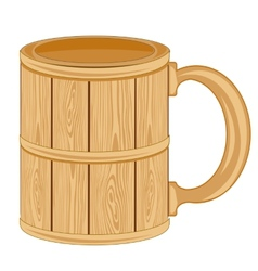 Wooden mug vector