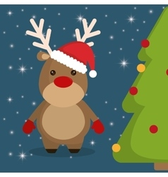 Reindeer and pine tree cartoon of chistmas design vector