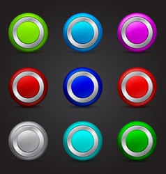 set of round buttons with glossy effect vector image
