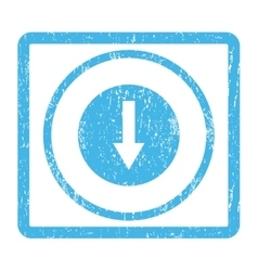 Down rounded arrow icon rubber stamp vector