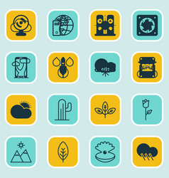 set of 16 nature icons includes cold climate vector image