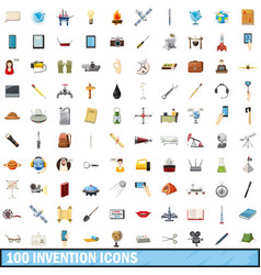 100 invention icons set cartoon style vector