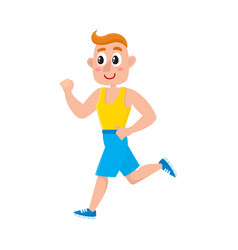 Young man running on treadmill training in gym vector