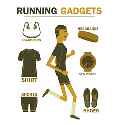 Running gadgets earth tone vintage vector