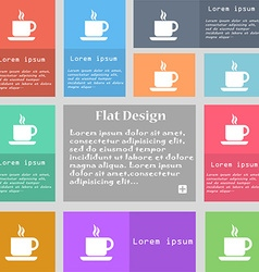 Coffee icon sign set of multicolored buttons with vector