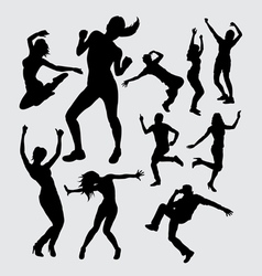 Aerobic dance silhouettes vector