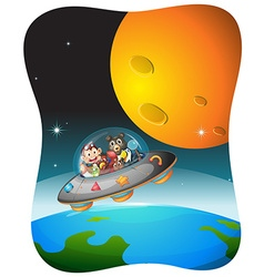 Wild animals traveling in spaceship vector