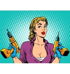 Girl worker drill repair vector