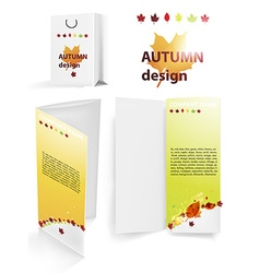 Pamphlet and bag set in autumn design vector