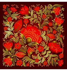 Abstract summer red floral ornament on brown vector