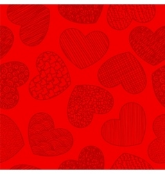 Seamless pattern with sketching hearts red vector